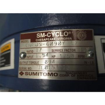 Sumitomo SM-Cyclo Gear Reducer: Model CNF JS-6090Y-17, ratio 17:1, 154 HP