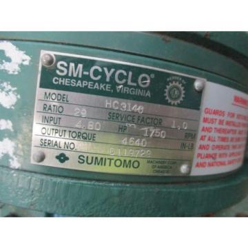 SUMITOMO SM-CYCLO 29:1 RATIO GEAR SPEED REDUCER 480 HP HC3140