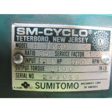 Sumitomo SM-Cyclo R1830 Inline Gear Reducer 35 Ratio 180Hp