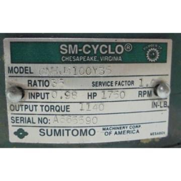 SUMITOMO SM-CYCLO, GEAR REDUCER, CNHJ4100Y35, 35:1 RATIO, 1750 RPM IN