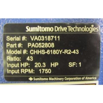 SUMITOMO PA052808 CHHS-6180Y-R2-43 SM-CYCLO 43:1 RATIO SPEED REDUCER GEARBOX Origin