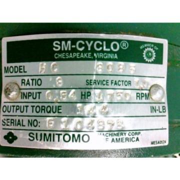 SUMITOMO SM-CYCLO Reducer HC-3085 Ratio 8 54Hp 1750rpm Approx 3/4#034; Shaft Dia