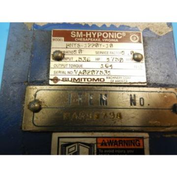 SUMITOMO RNY-1220Y-10 HYPONIC BLUE REDUCER RATIO: 10 RPM: 1750 TORQUE: 164