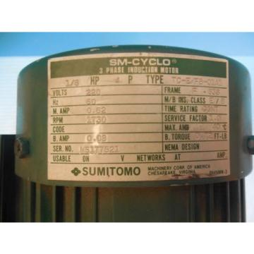 Origin SUMITOMO HMS 3090 1/8 HP 3 PHASE INDUCTION MOTOR 1730 RPM INDUSTRIAL TOOLS