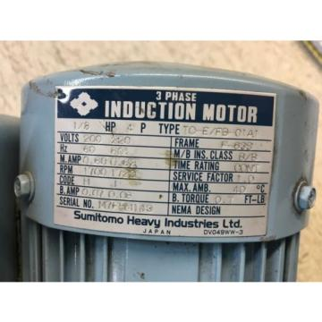 SUMITOMO CYCLO DRIVE, MODEL: CNHM01-5075-N-B-43, RATIO 43, WITH MOTOR, USED
