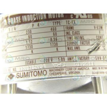 SUMITOMO TC-FX RNYMS02-1220YA-40 1/4 HP 1730 RPM INDUCTION MOTOR Origin NO BOX