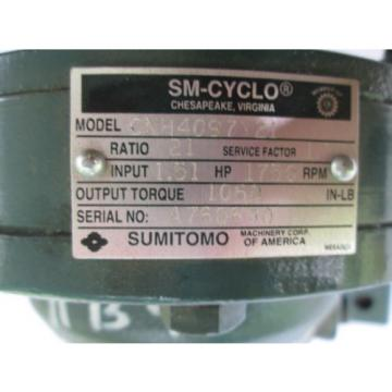 Sumitomo SM-Cyclo CHH4097Y21 Ratio 21 Input 151 HP 1750 RPM Industrial