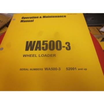 Komatsu Uruguay  WA500-3 Wheel Loader Operation & Maintenance Manual s/n 52001 & Up