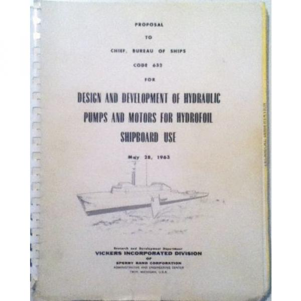 Sperry Brazil  Rand, Vickers Div 1963  Proposal Hydraulic Pumps/Motors #1 image