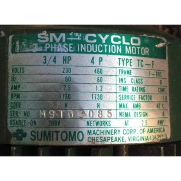 SM CYCLO 3/4 HP 3 PHASE INDUCTION MOTOR WITH SUMITOMO GEAR REDUCER 6:1 #3 image