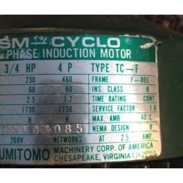 SM CYCLO 3/4 HP 3 PHASE INDUCTION MOTOR WITH SUMITOMO GEAR REDUCER 6:1 #4 image