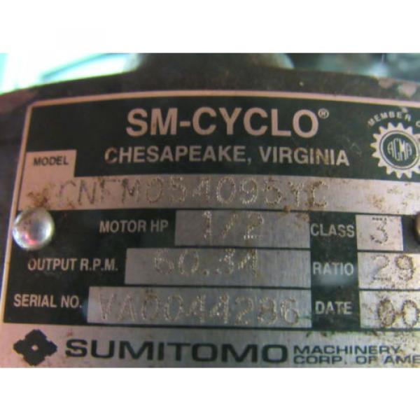 Sumitomo SM-Cyclo CNFM054095YC 1/2HP Gear Motor 29:1 Ratio 208-230/460V 3Ph #10 image