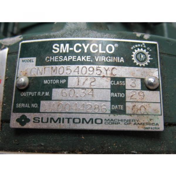 Sumitomo SM-Cyclo CNFM054095YC 1/2HP Gear Motor 29:1 Ratio 208-230/460V 3Ph #11 image