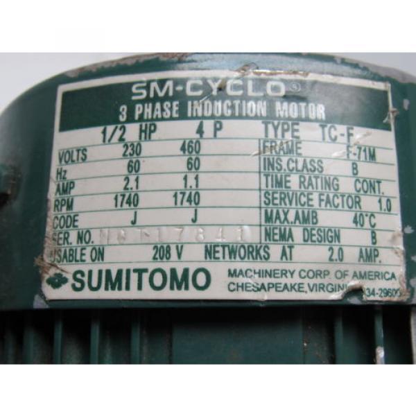 Sumitomo SM-Cyclo CNFM054095YC 1/2HP Gear Motor 29:1 Ratio 208-230/460V 3Ph #12 image