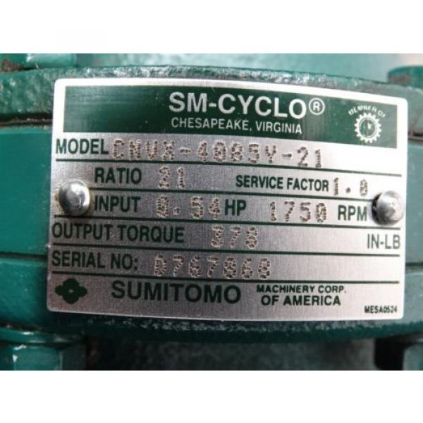 Sumitomo SM-Cyclo Gear Reducer CNVX-4085Y-21 Ratio:21 54HP 1750RPM Torque:378 #5 image