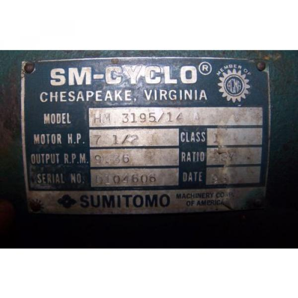 Origin SUMITOMO SM-CYCLO 187:1 RATIO SPEED REDUCER 936 RPM 7-1/2 HP HM3195/14A #6 image